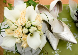 Photograph of brides wedding bouquet with diamantes