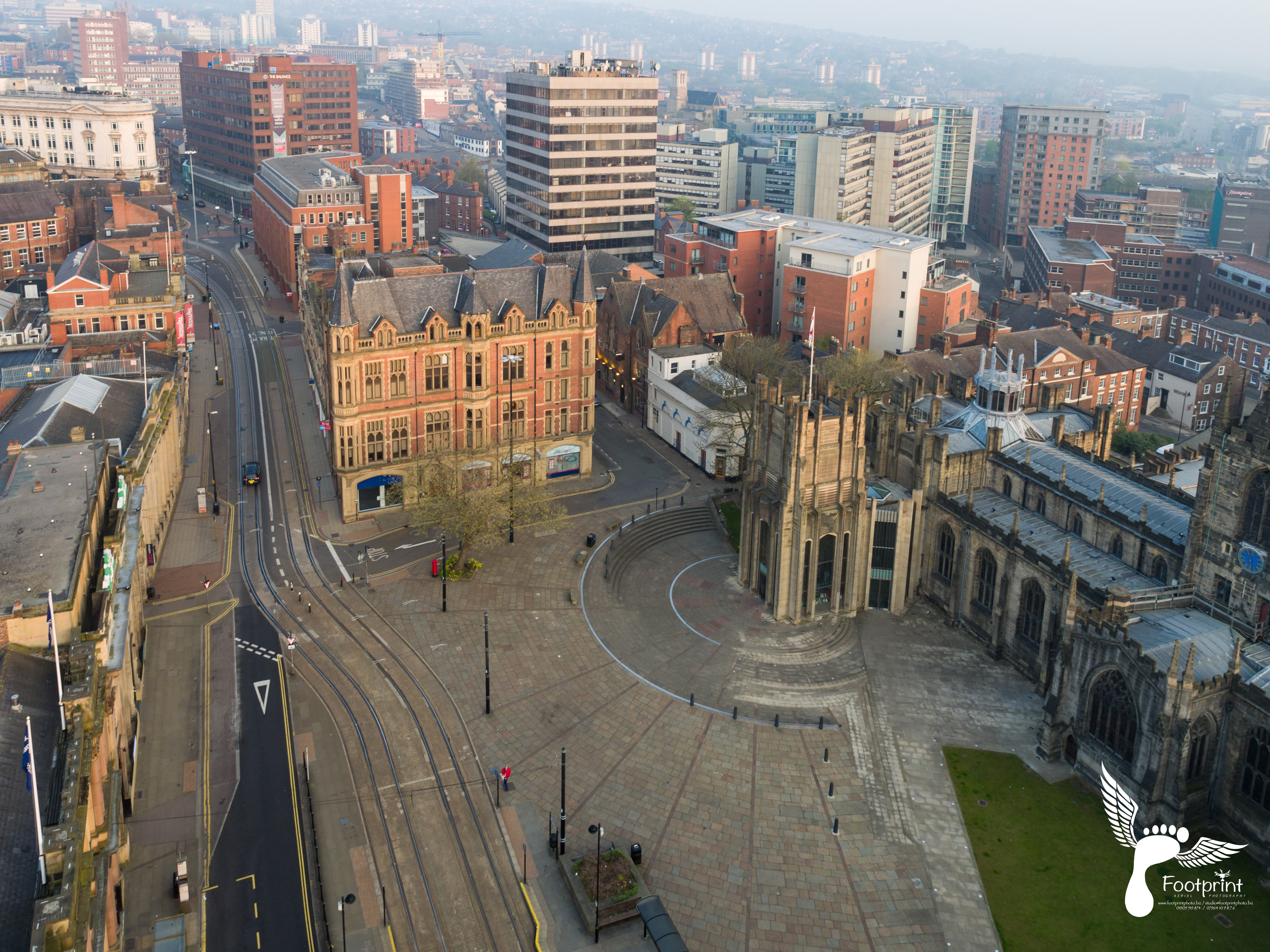 Aerial photography of sheffield city centre footprint for The sheffield