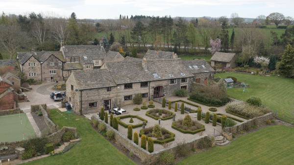 Aerial photograph of stone cottages