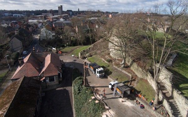 Aerial Photography at Pontefract Castle for Tree Saw tree surgeons