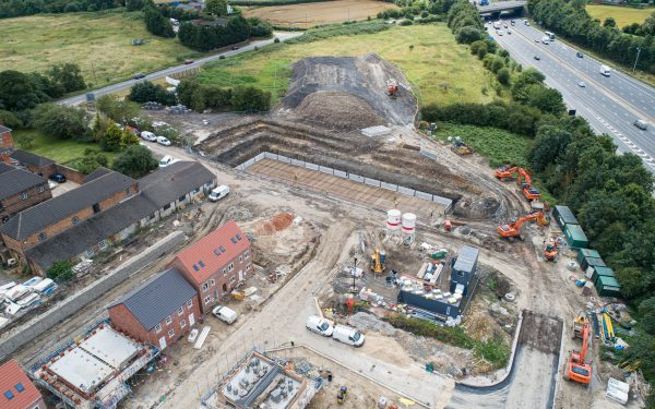 Drone video of construction site in Barlborough