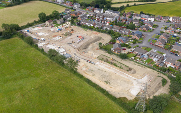 Aerial video of housing project in Derbyshire