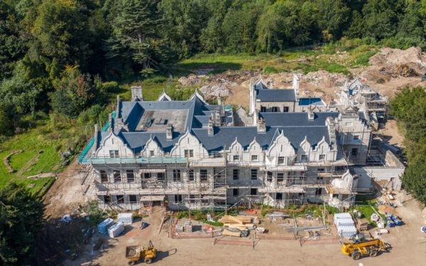 Aerial video of 3rd visit to Firbeck Hall restoration project